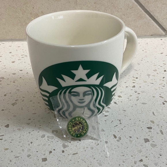 New Vintage Starbucks Pin with Old Logo + Mug